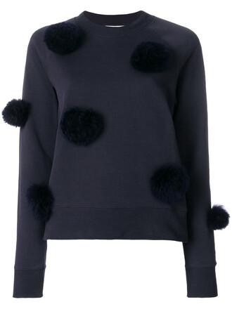 sweatshirt cropped women cotton blue sweater