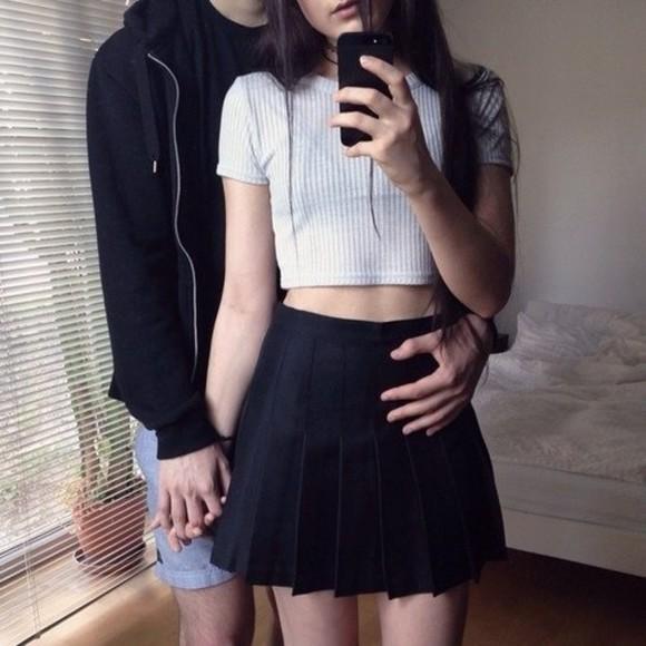 crop tops skirt top boyfriend pleated skirt