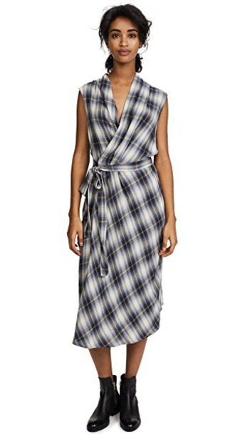dress wrap dress sleeveless plaid