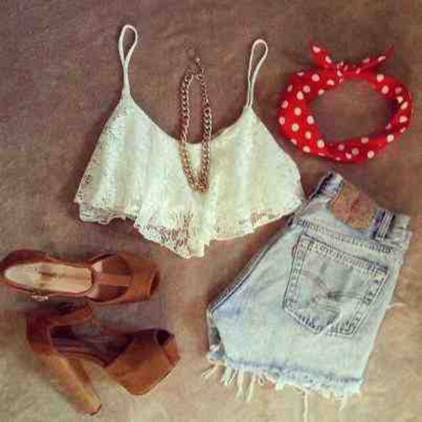 top shorts shoes hair accessory jewels
