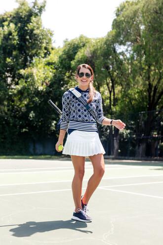 dallas wardrobe // fashion & lifestyle blog // dallas - fashion & lifestyle blog blogger sweater skirt shoes bag sunglasses mini skirt white skirt blue sweater aviator sunglasses blue sneakers