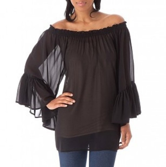 blouse off the shoulder bell sleeves