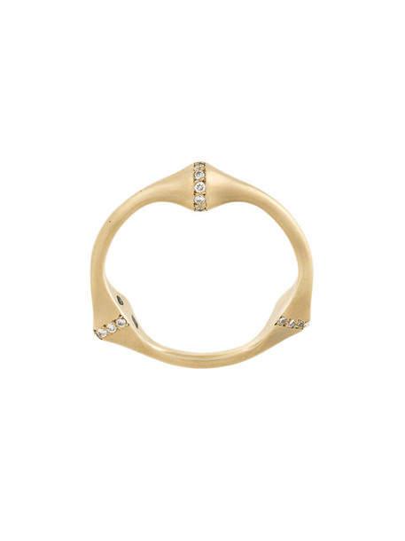 Savoir women ring gold grey metallic jewels