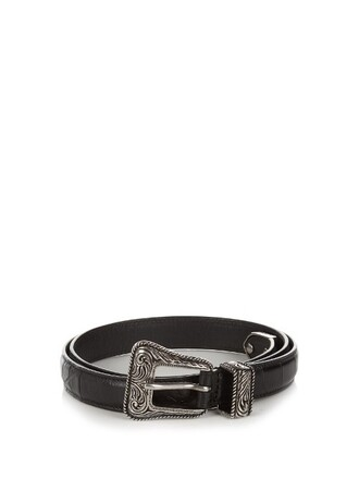 belt waist belt leather crocodile black