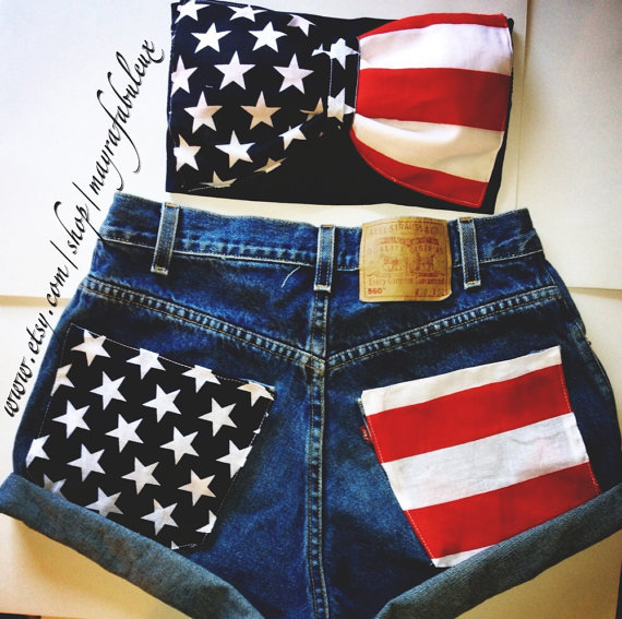 Any Size American Flag High Waisted Shorts on Wanelo