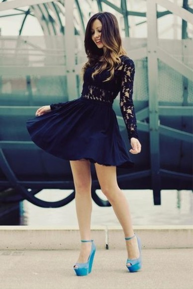dress lace dress lace high heels shoes stylestalker navy long sleeves aqua heels cute short party dresses little black dress dentelle noir robe courte dark blue floral prom dress fancy dress fancy