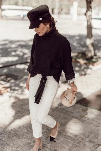 jeans white jeans sweater black sweater hat fisherman cap bag