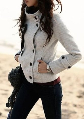 coat gray jacket fall outfits fashion warm lovely button up off-white black button grey sweater black buttoned black buttons