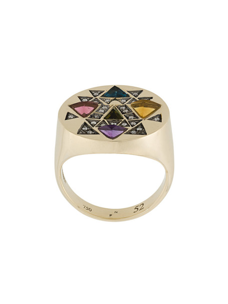 Noor Fares women ring gold white grey metallic jewels