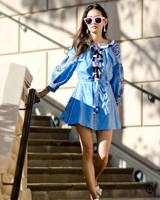 dress tumblr blue dress embroidered embroidered dress long sleeves long sleeve dress sunglasses white sunglasses mini dress