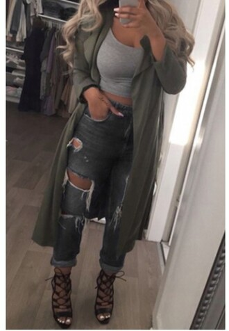 coat cardigan fashion style trendy cool fall outfits jacket green casual ripped jeans long coat instagram army green crop tops denim sexy streetwear zaful streetstyle