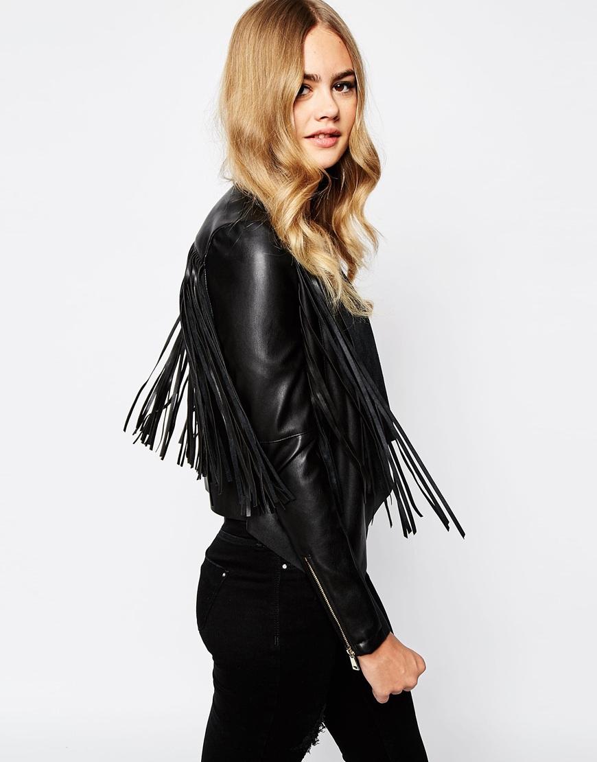 Leather jacket with fringe - River Island Fringe Leather Look Jacket At Asos Com