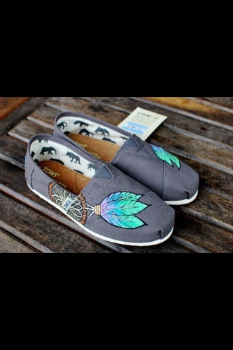 shoes toms brown daps dreamcatcher