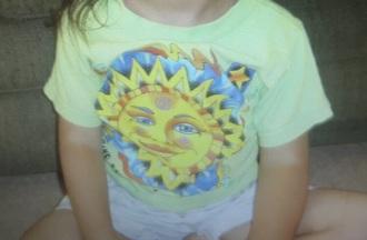 shirt green yellow sun hippie oregon sister oregon sisters children children's shirt 2003 2004 2005 2006 2007 2008 stars