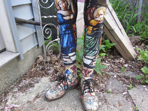 religious leggings blue pants brown pants grey pants yellow pants green pants pink pants pants