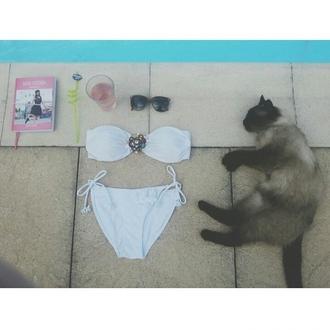 cats sunglasses summer outfits swimwear outfit agenda2014 bikini ootd swimingpool strass casual sun chillax white swimwear