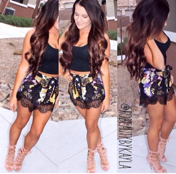 floral shorts High waisted shorts shirt shorts shoes tank top