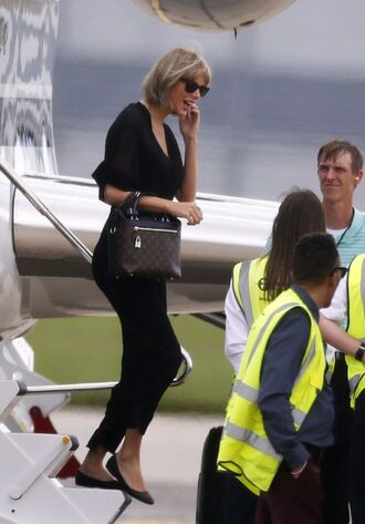 blouse top pants taylor swift flats ballet flats all black everything