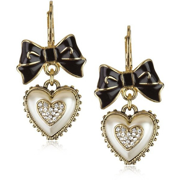 hearts jewels bows vintage earrings
