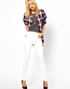 ASOS | ASOS - Ridley - Jeans ultra skinny a vita alta bianchi su ASOS