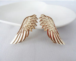 One Pair New Gold Winged Collar Tips Angel Wing Feather Stud Pin Brooch J | eBay