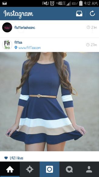 blue dress skater dress half sleave nautical beach dress fall dress striped dress