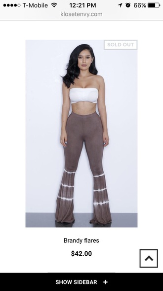 pants brown taupe tie dye tie dye pants bell bottoms flare flare pants high waisted high waisted pants two-piece bandeau