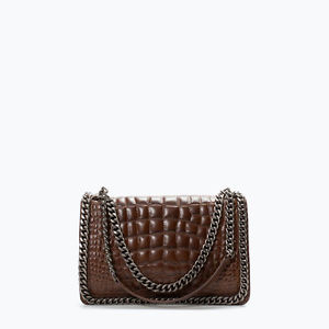 SOON AVAILABLE ON BLACK AS WELL ZARA Croc crocodile pattern city bag with chain