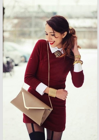 dress burgundy long sleeve dress burgundy dress clothes girl looking for this dress white collar dress