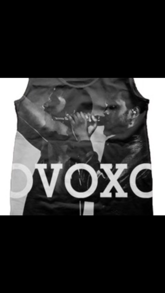 jersey tank top balck & white drake the weeknd ovoxo