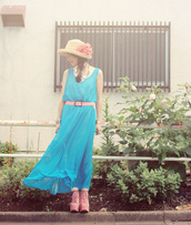 tiny toad stool,blue dress,dress