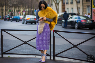 styledumonde blogger sweater shoes skirt sunglasses purple shoes midi skirt purple skirt high heel pumps pumps