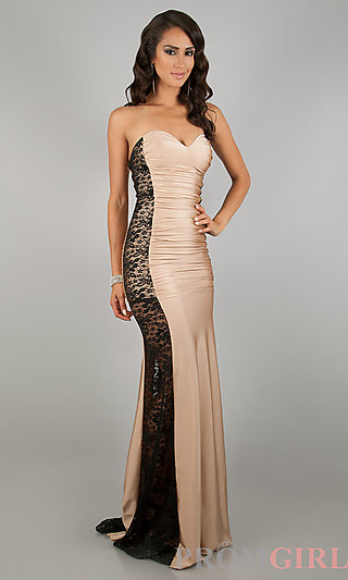 Atria long strapless prom dresses, lace gown