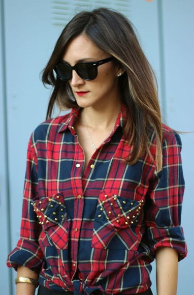 studs flannel blouse flannel shirt
