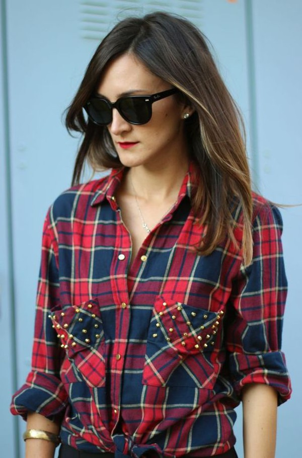flannel studs blouse flannel shirt