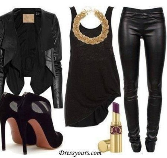 shoes pants leather jacket leather jacket leggings shopwithcre crecrebaby my style all black gold accessory shoes, accessories, midi ring, jewelry, gold high heels
