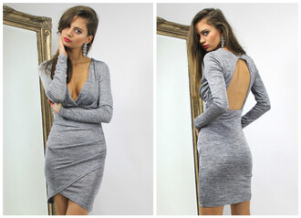 dress grey sweater sweater sweater dress knit knitwear knitted dress fall dress fall outfits grey dress midi dress mini dress low cut dress v neck dress open back open back dresses wrap dress assymetrical skirts asymmetrical asymmetrical dress long sleeve dress deep v dress grey bodycon grey bodycon