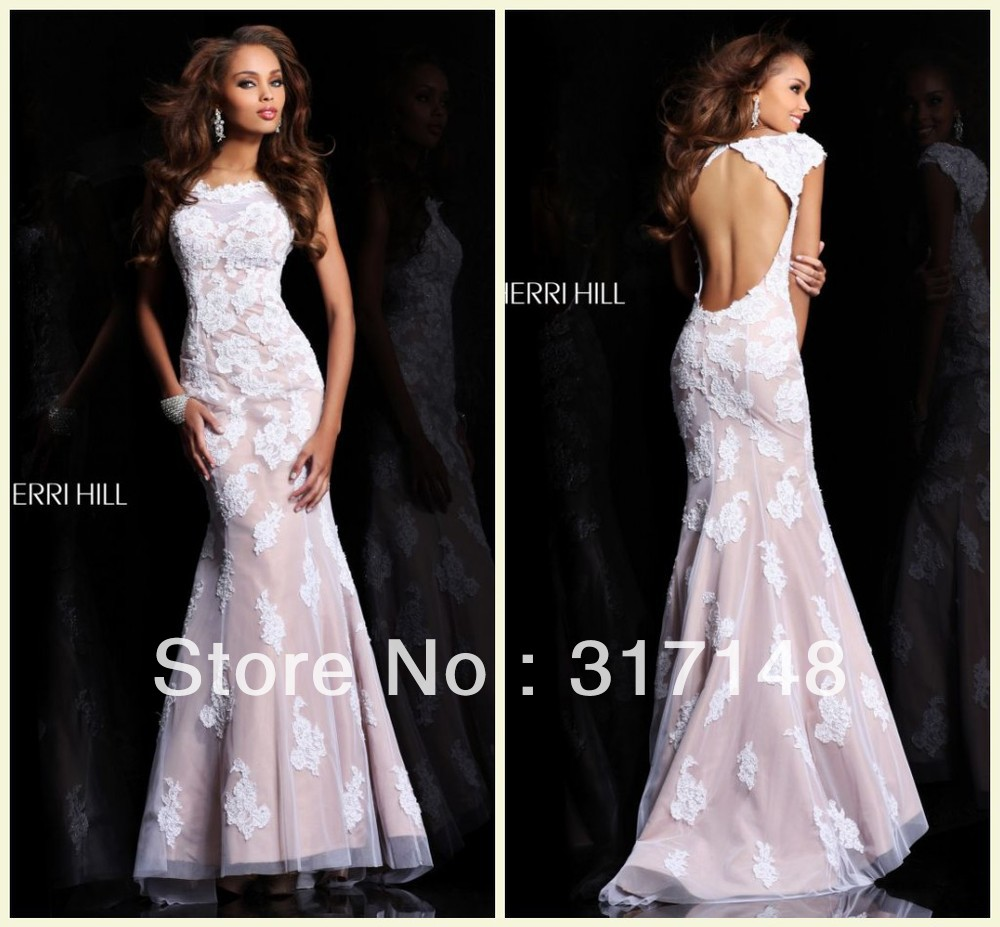 Design Vintage Long Cap Sleeve Backless Prom Dresses Mermaid Lace ...
