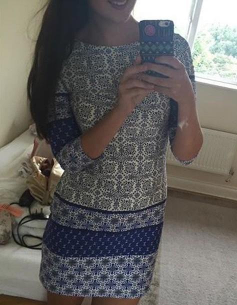 dress blue and white dress print floral aztec