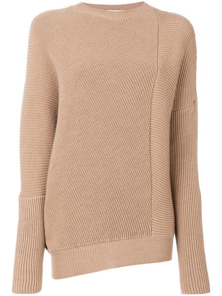 Stella McCartney - asymmetric ribbed knit jumper - women - Virgin Wool - 42, Nude/Neutrals, Virgin Wool