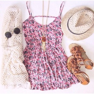 dress floral summer spring hot cute girly sun hat knit necklace tumblr instagram weheartit boho indie hippie hipster sweater hat sunglasses jewels straw hat gemstone pendant