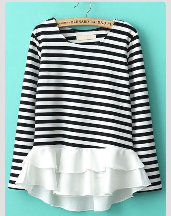blouse stripes ruffle black and white