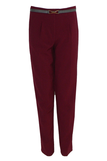 Mahsa High Waisted Chino Trousers in Burgundy - Pop Couture