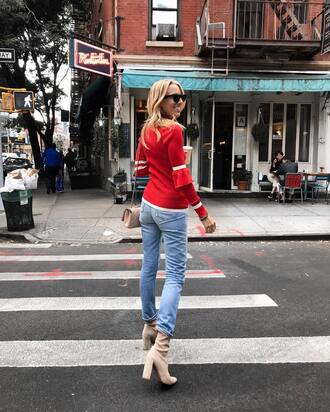 top tumblr red top denim jeans blue jeans boots nude boots sunglasses