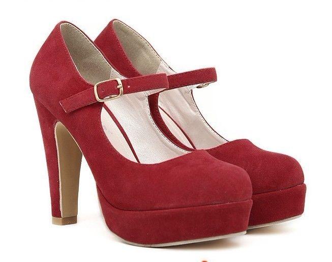 2014 Sexy Suede Mary Jane Ankle Strap Platform Stilettos High Heel Pump Shoes | eBay