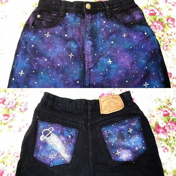 High waisted galaxy shorts by cuteaddicts on etsy