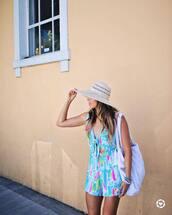 romper,hat,tumblr,blue romper,summer outfits,bag,white bag,sun hat