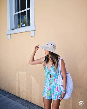 romper hat tumblr blue romper summer outfits bag white bag sun hat