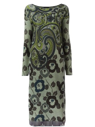 dress knit women floral leather wool green paisley