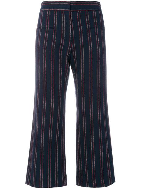Carven cropped women cotton blue pants
